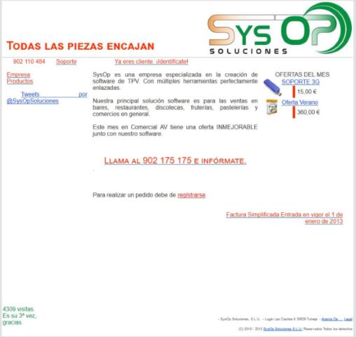 Pagina principal de nuestra web gestionada con nuestro propio sistema de software web